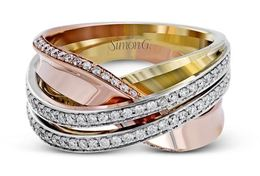Simon G 18kt White, Yellow & Rose Gold Contemporary Intertwined Band image 3