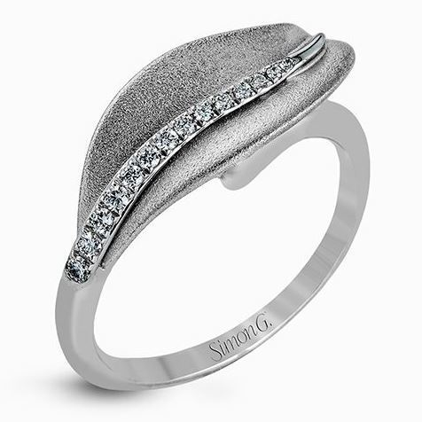 Simon G 18kt White Gold Delicate Leaf Design Diamond Ring image 2