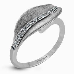 Simon G 18kt White Gold Delicate Leaf Design Diamond Ring image 1