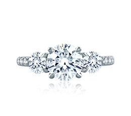 A. Jaffe Three Stone Round Engagement Ring image 3