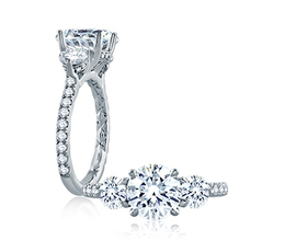 A. Jaffe Three Stone Round Engagement Ring image 2