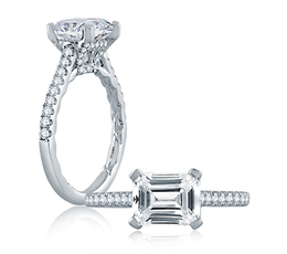 A. Jaffe East/West Emerald Cut Modern Classic Engagement Ring image 2