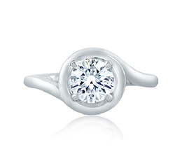 A. Jaffe Four Prong Round Wave-Inspired High Polish Engagement Ring image 3
