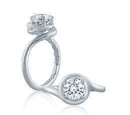 A. Jaffe Four Prong Round Wave-Inspired High Polish Engagement Ring image 1