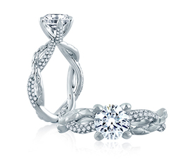 A. Jaffe Diamond and Quilted Vine Engagement Ring image 1