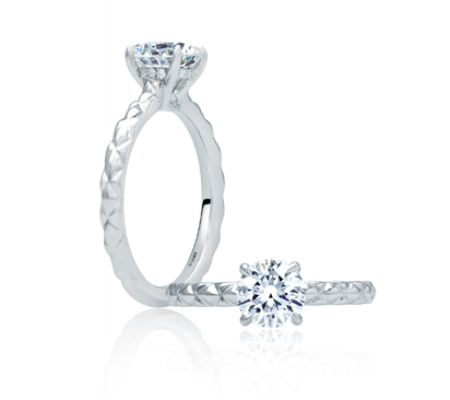 A. Jaffe Quilted Shank Solitaire Engagement Ring image 2