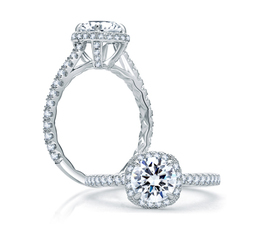 A. Jaffe Quilted Round Halo Engagement Ring image 1