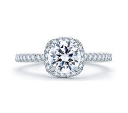 A. Jaffe Quilted Round Halo Engagement Ring image 2
