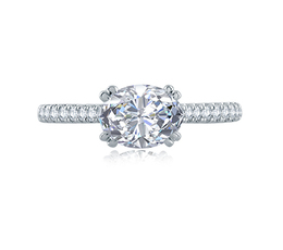 A. Jaffe East/West Oval Cut Four Prong Engagement Ring image 3