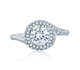 A. Jaffe Four Prong Round Wave-Inspired Half Pave Engagement Ring image 3