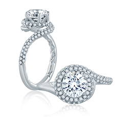 A. Jaffe Four Prong Round Wave-Inspired Half Pave Engagement Ring image 1